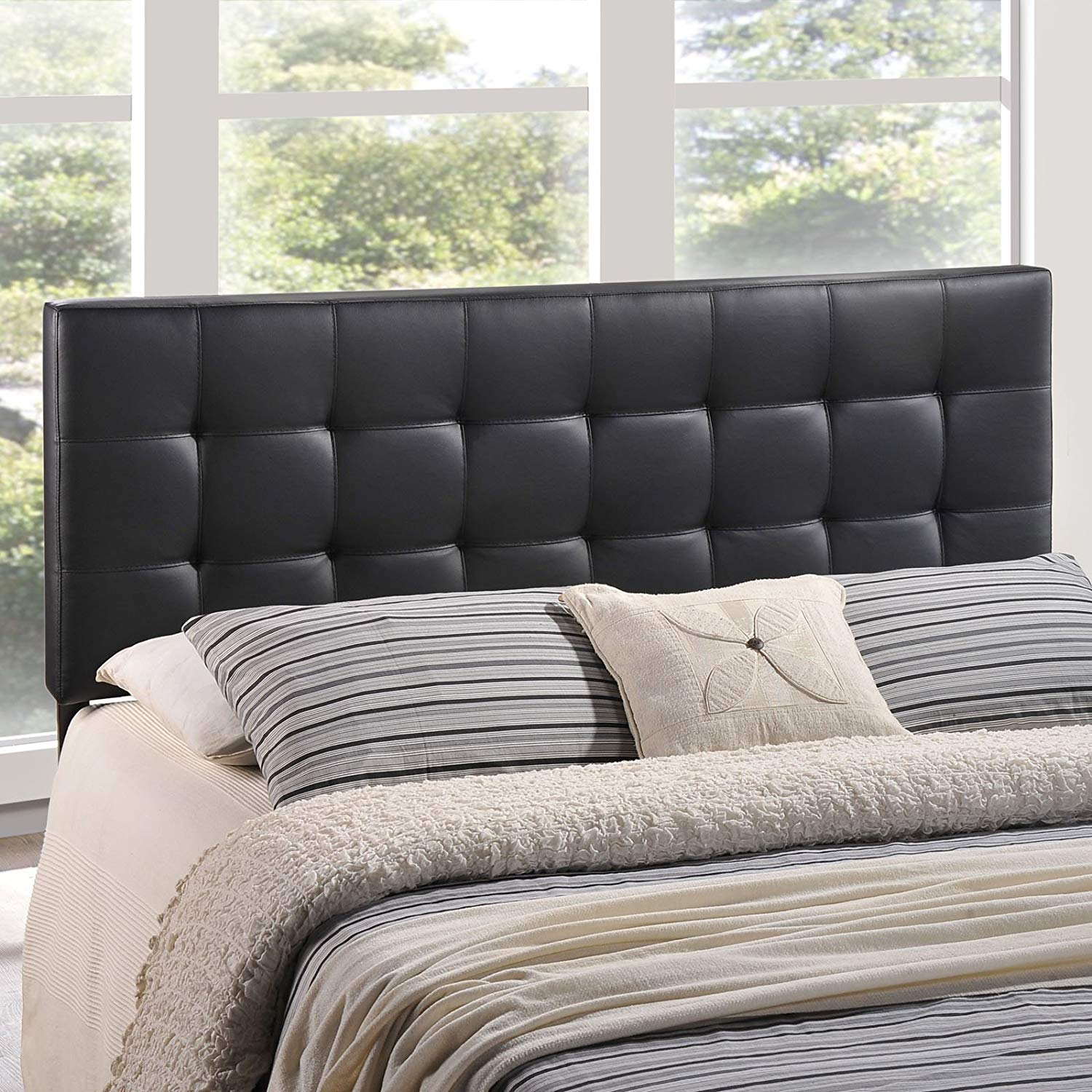 Modway Lily Upholstered Tufted Faux Leather Queen Headboard