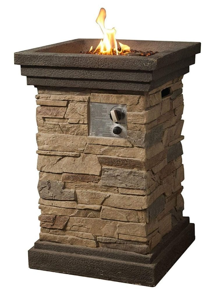 "Peaktop Slate-Rock Square Column (29"") Gas Fire Pit"