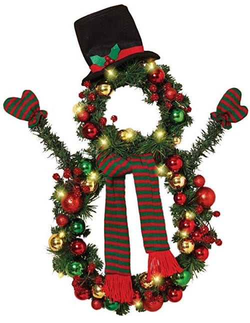 Battery Operated Christmas Snowman Wreath With Ornaments