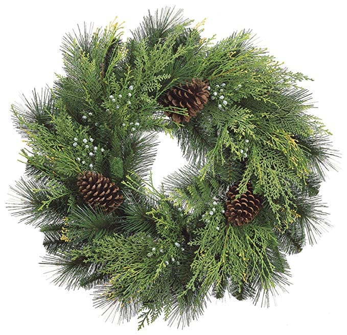 Christmas Cedar Wreath with Pine Cones and Berries