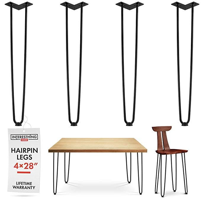 28 Inch Hairpin Legs – 4 Easy to Install Metal Legs for Furniture