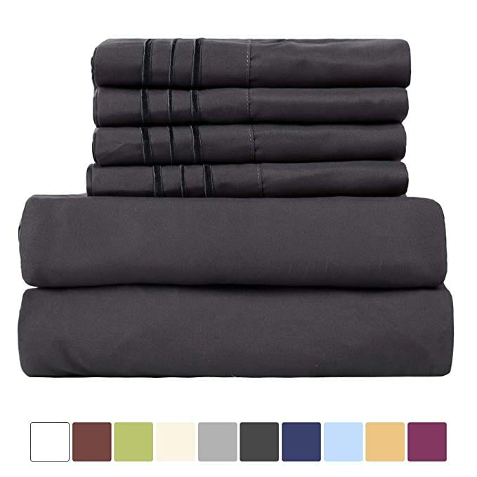 EASELAND 6-Pieces 1800 Thread Count Microfiber Bed Sheet