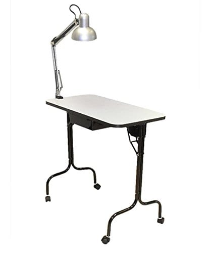 Folding Manicure Table that has a Lamp by Pibbs