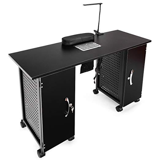 Giantex Manicure Nail Table Station with Black Steel Frame by Giantex