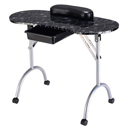 Giantex Portable Manicure Nail Table Station Desk