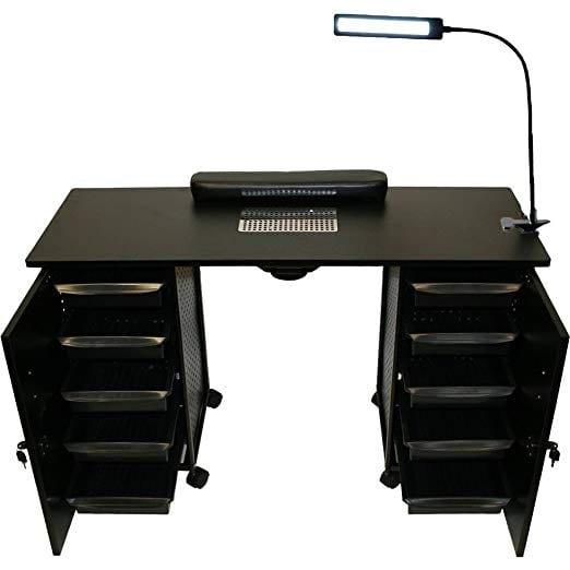 LCL Beauty Vented Double Storage Manicure Nail Table Desk