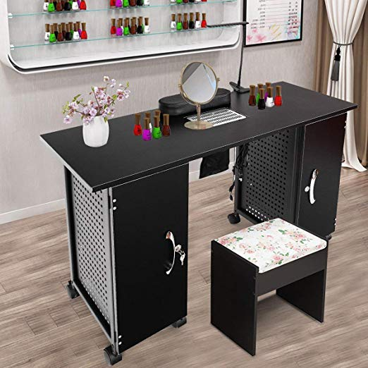 Manicure Table that has a Vent and a Lamp by Giantex