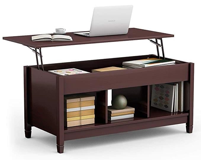 TANGKULA Coffee Table Lift Top Wood Home Living Room Modern Lift Top Storage Coffee Table