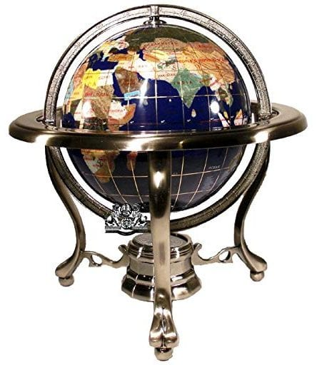 Unique Art Since 1996 10-inch Table Top Blue Lapis Gemstone Globe Silver Stand