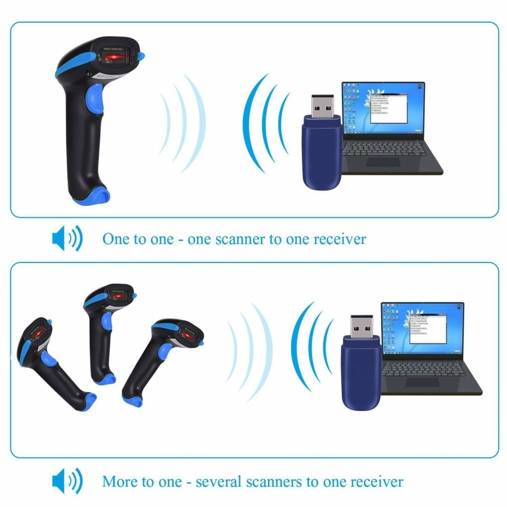 WoneNice 2.4GHz Wireless Barcode Scanner