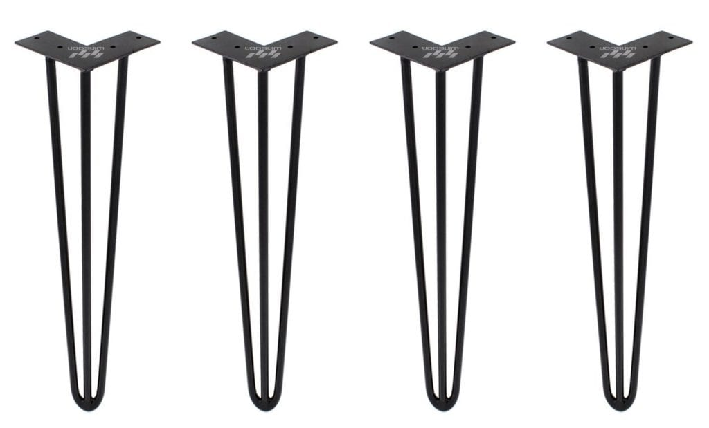 "ZEKOO 4 PCS 28"" Heavy Duty Black Metal Hairpin Table Legs"