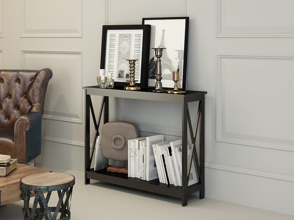 EhomeProducts Brand 3 Tier Cross-Beam Console Table