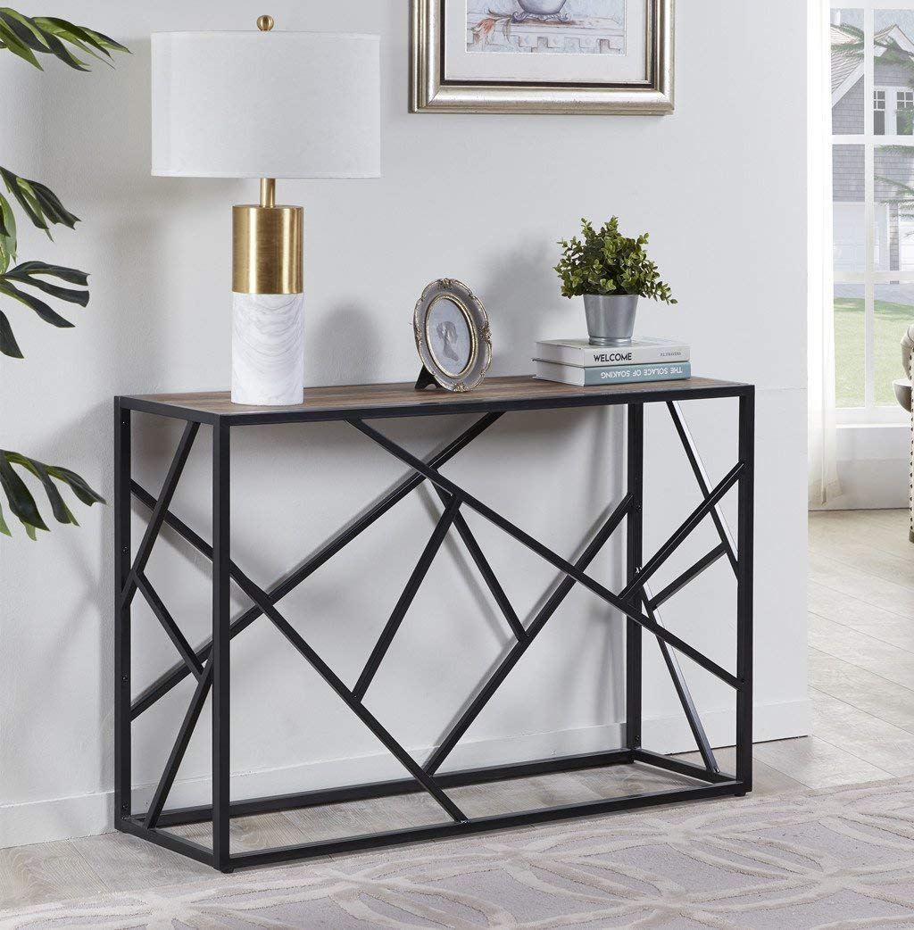 """Homissue 30"""" Height Console Sofa Table with Sturdy Criss-Cross Design for Hallway:Living Room:Entryway, Retro Brown"""