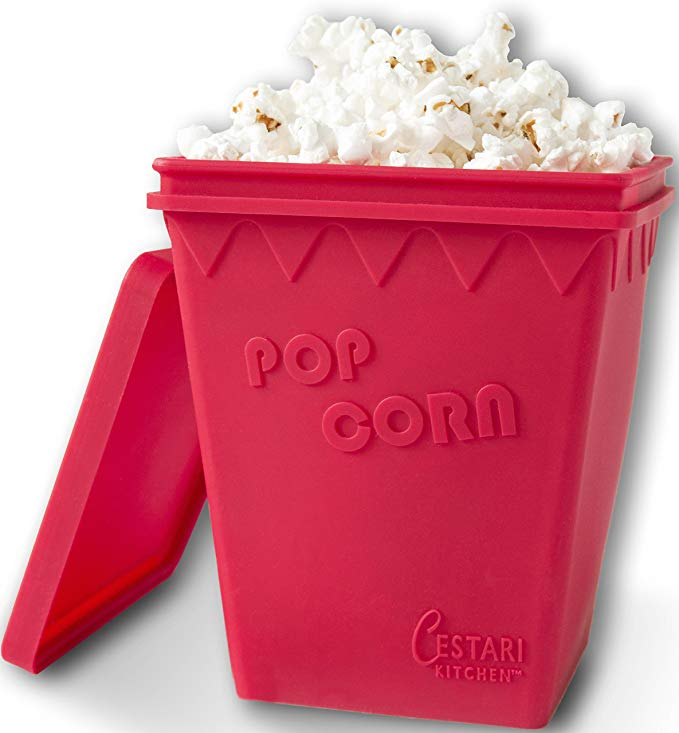 Microwave Popcorn Popper, Replaces Microwave Popcorn Bags, Enjoy Healthy Air Popped Popcorn - No Oil Needed, BPA Free Premium European Grade Silicone Popcorn Maker by Cestari Kitchen (Makes 8 Cups)