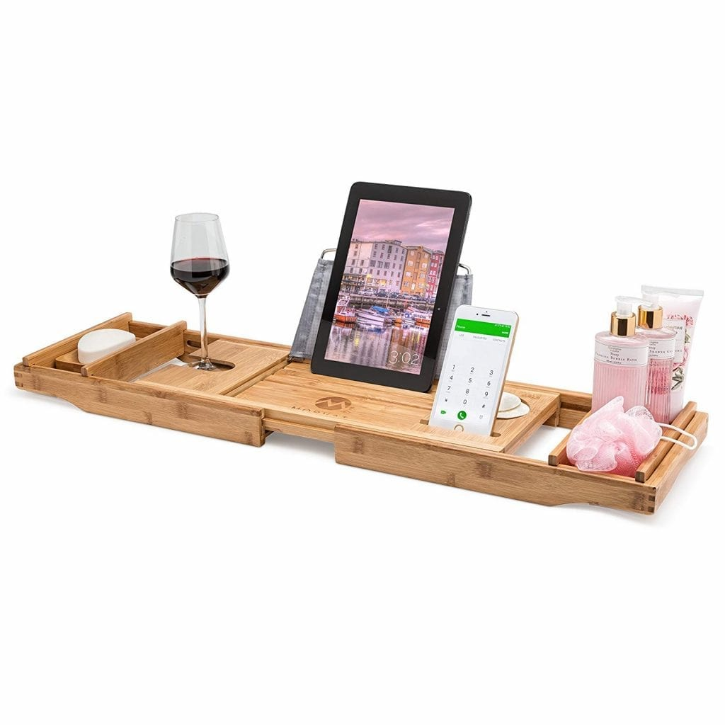Utoplike Extendable Bamboo Bathtub Caddy Tray Bathtub Rack With Stainless Steel Arms Adjustable Book Holder And Slots For Wine Ipad Phone Home Bathtub Trays Entretiensdelamenagement Fr