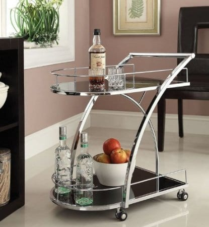 Chrome Metal Bar Tea Wine Serving Cart with Tempered Glass