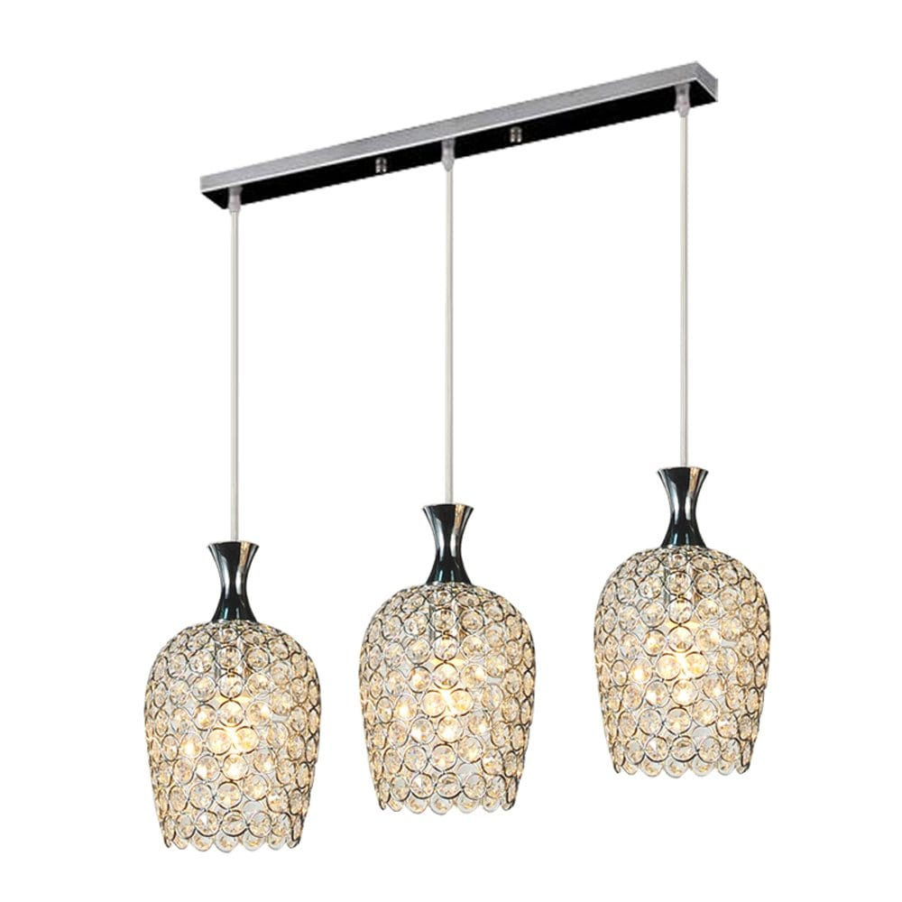 DINGGU Modern 3- Light Crystal Pendant Lighting for Dining Room and Kitchen Island