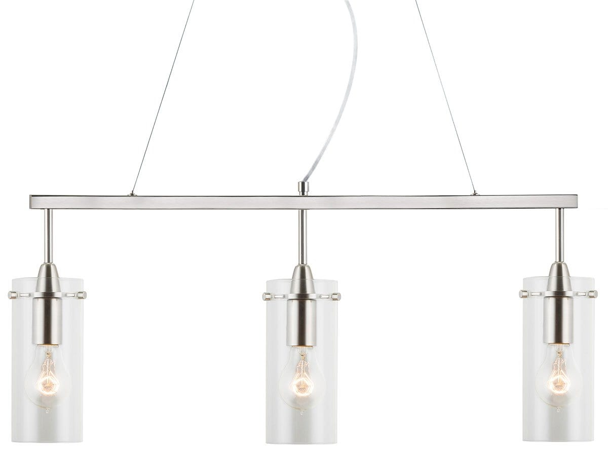 Effimero 3 Light Kitchen Island Lightings Hanging Fixture (LL-P331-BN) Brushed Nickel by Linea di Liara