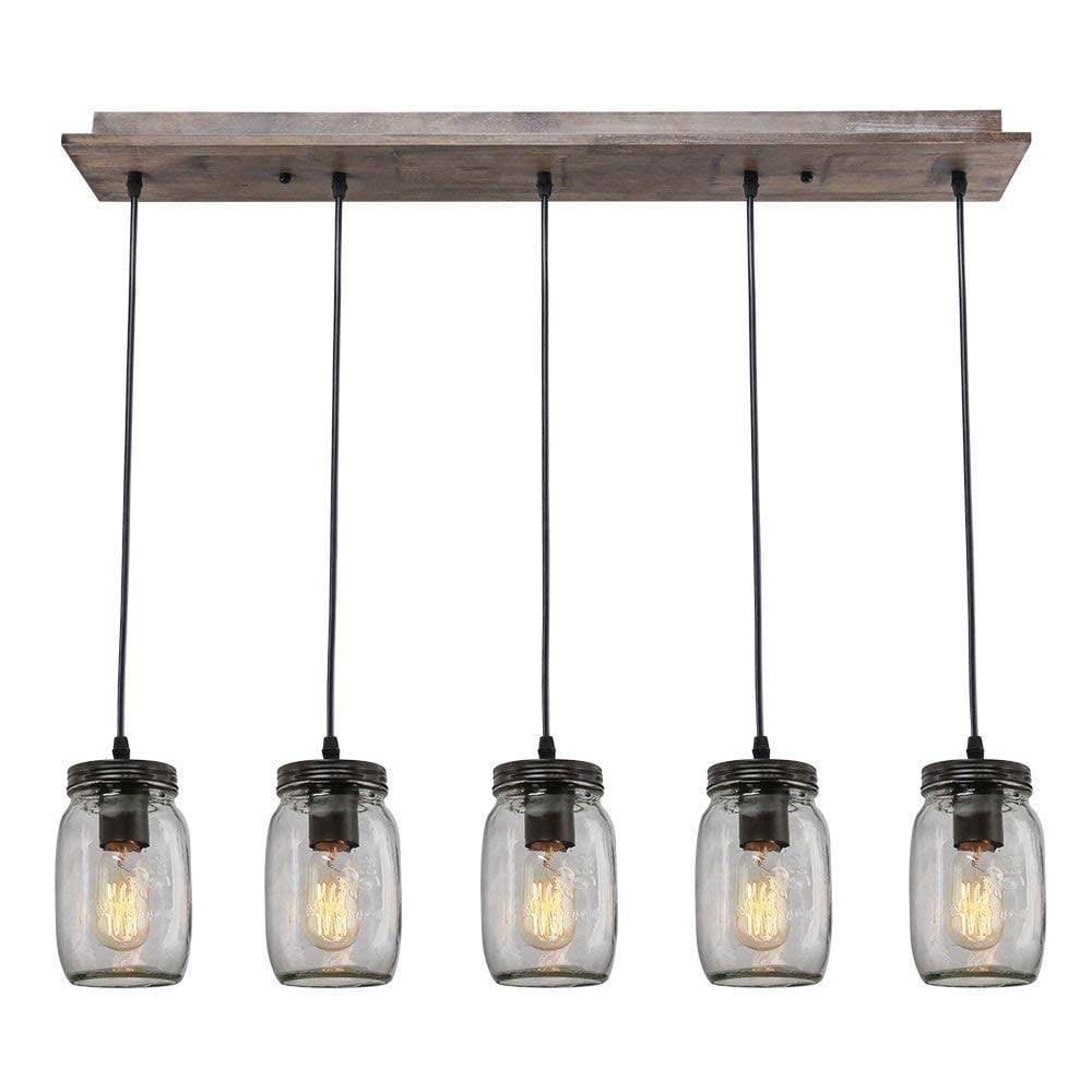 LNC A02983 Adjustable Kitchen Island Lighting (Mason jar) Multi-Pendant Chandelier, Brown, Wood Canopy