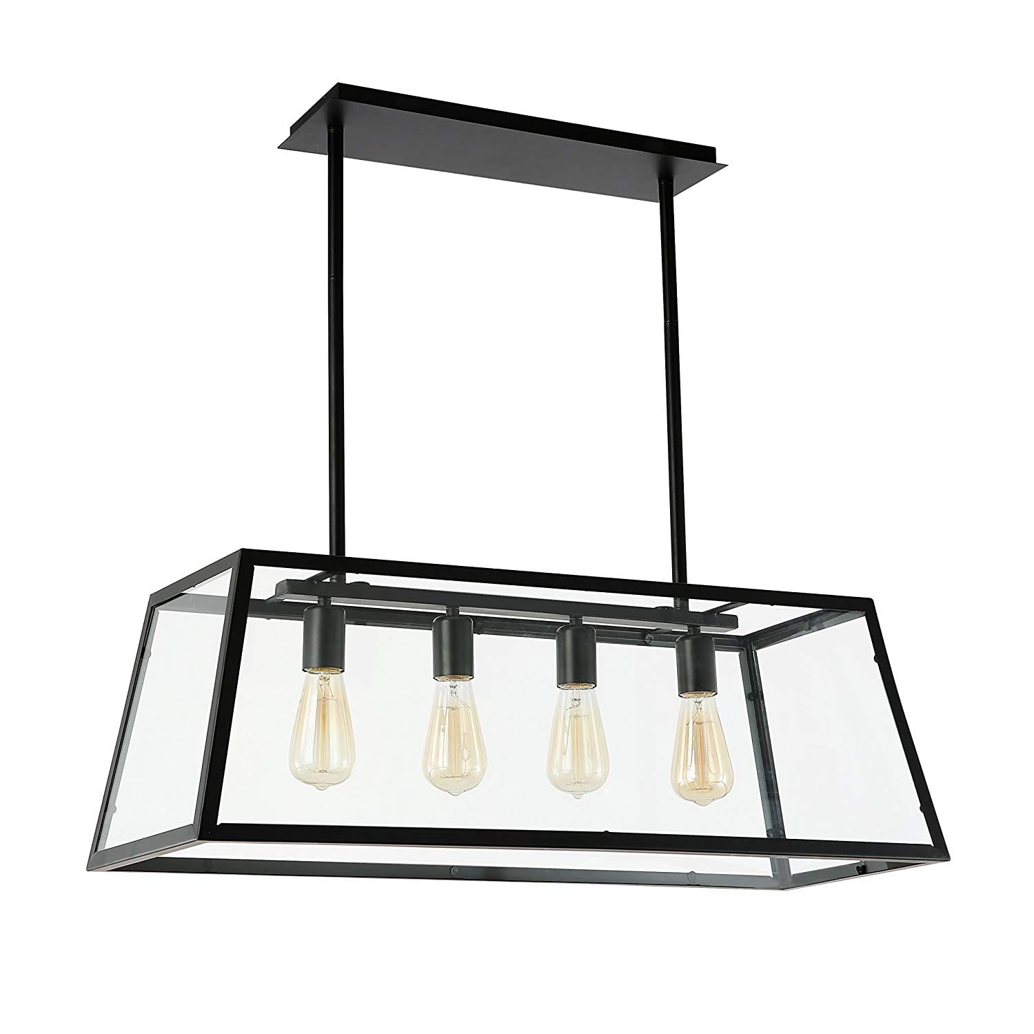 Light Society Morley (LS-C104) 4-Light Kitchen Island Pendant with Matte Black Shade with Clear Glass Panels