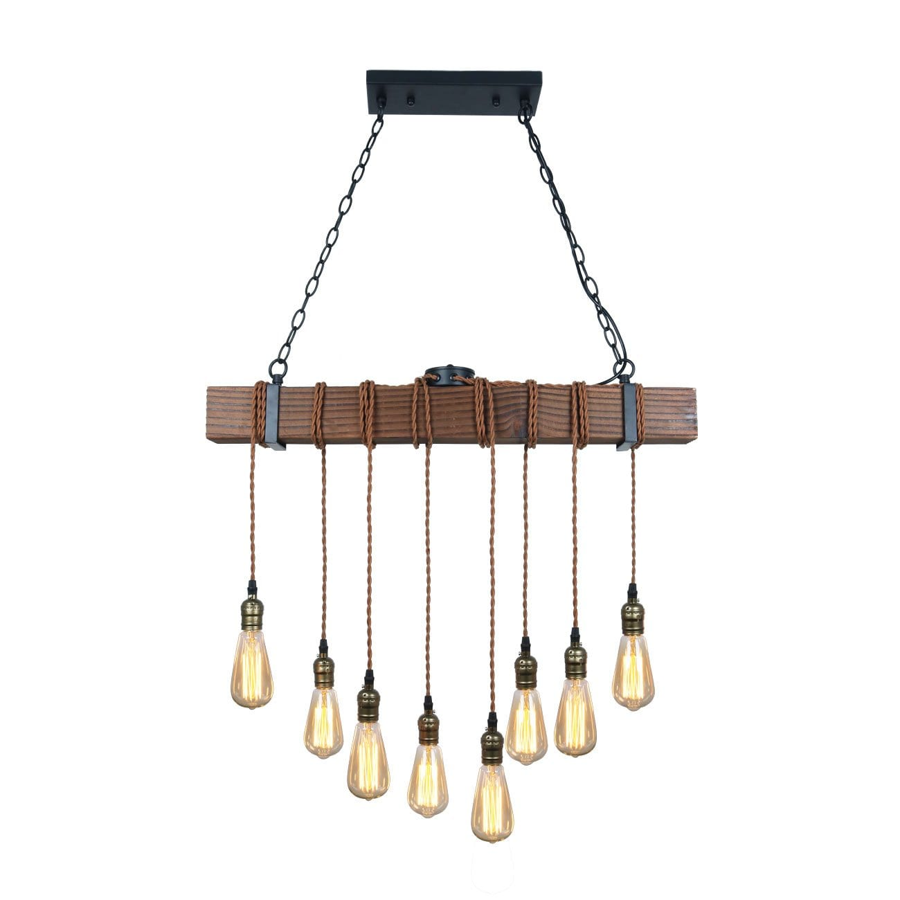 Unitary Brand Rustic Hanging Multi Pendant Light with 8 (320W) E26 Bulb Sockets, Painted Black Wood Finish