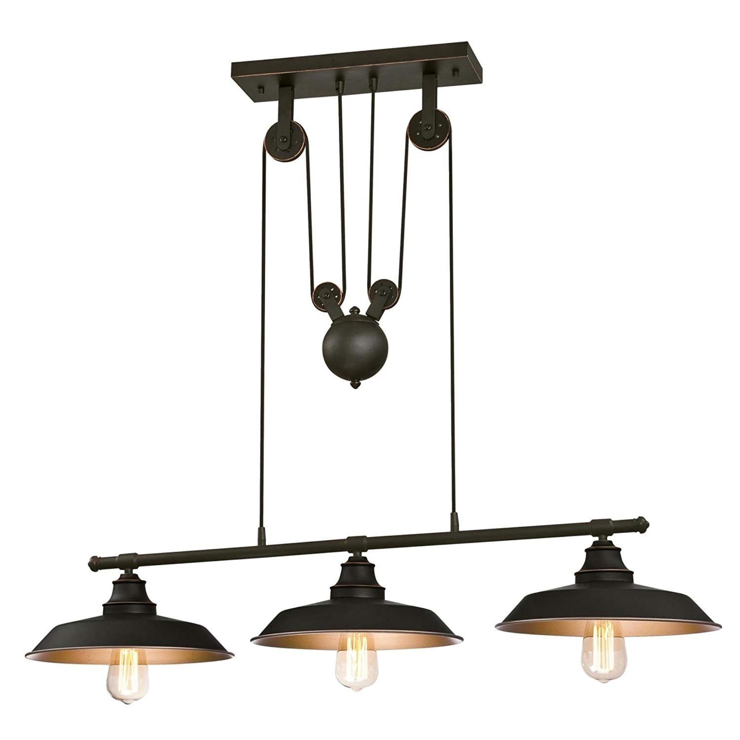 Westinghouse 6332500 Iron Hill 3-Light Island Pulley Pendant Light, Oil Rubbed Finish, Metallic Bronze Interior