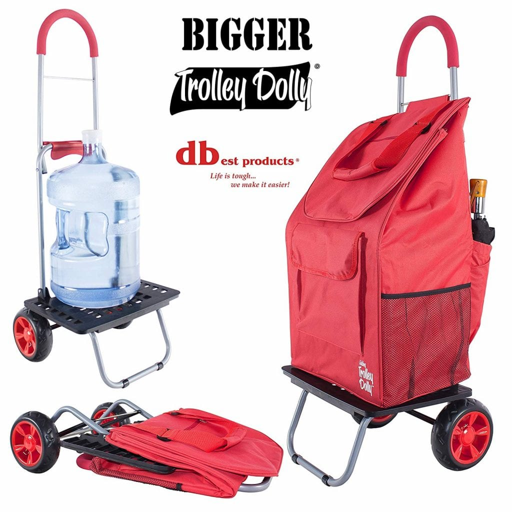 Trolley Side Zip Lightweight Shopping Foldable Aluminum Alloy Frame,Red