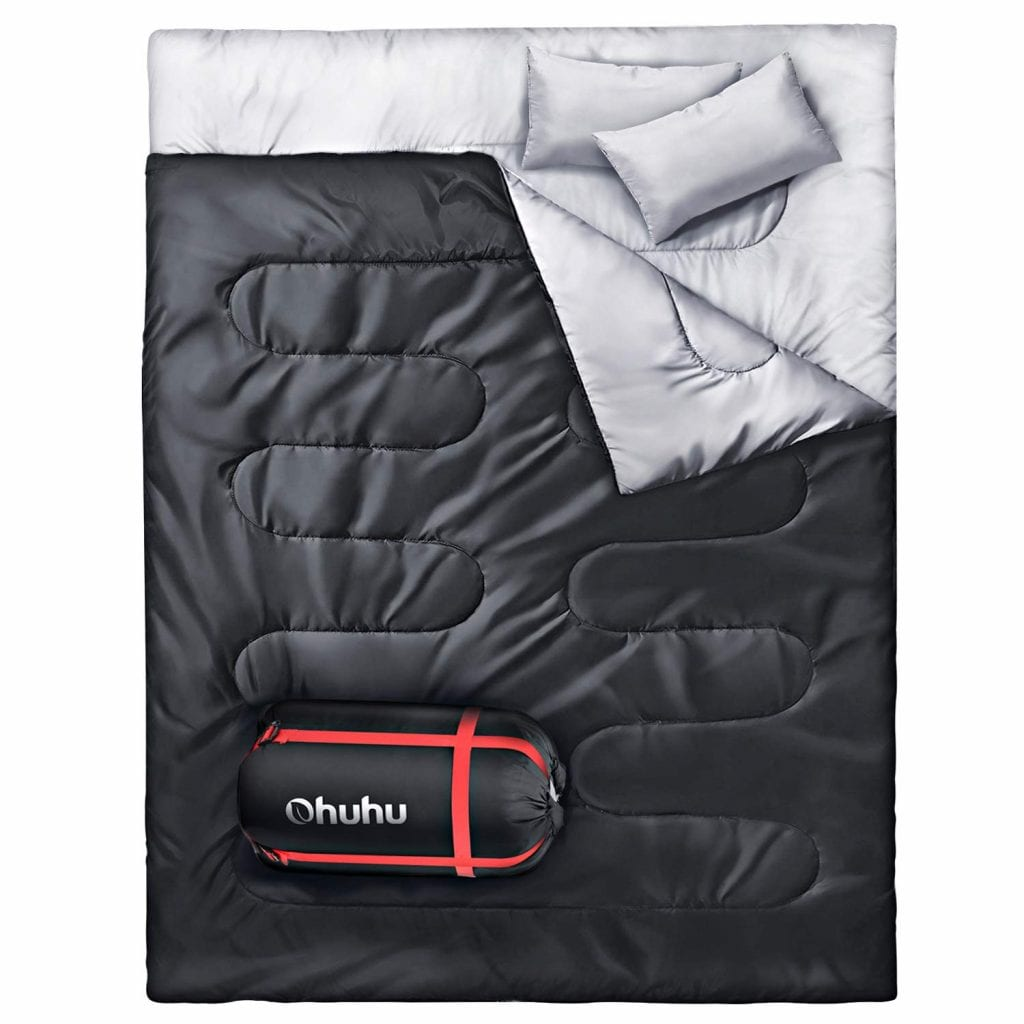 Ohuhu Double Sleeping Bag, Waterproof and Lightweight with a Bonus Carrying Bag, Black