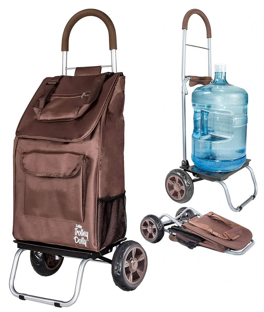 Trolley Dolly Brown Shopping Foldable Cart