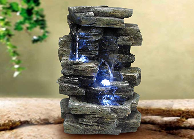 Alpine Corporation 4-Tier Cascading Tabletop Fountain with LED Lights