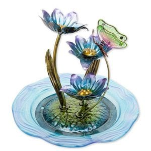 Bits and Pieces - Indoor/Outdoor Iridescent Glass Butterfly Fountain