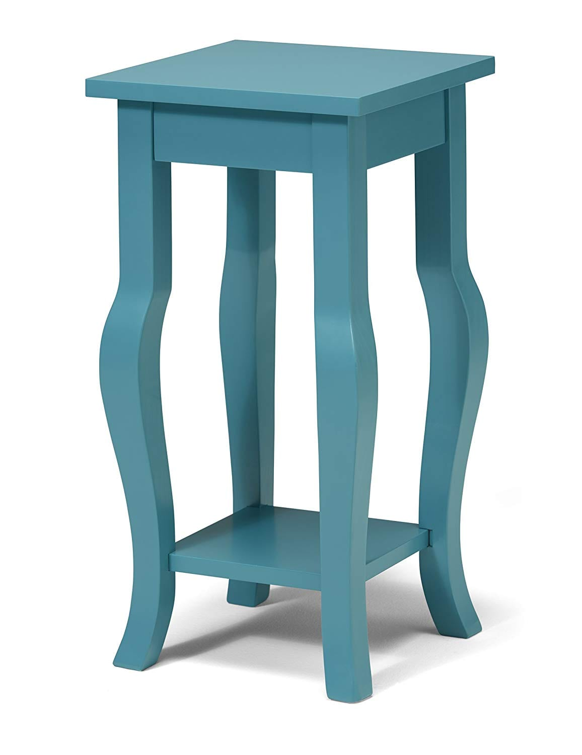 8. Kate and Laurel Lillian Wood Pedestal End Table Curved Legs with Shelf, Teal