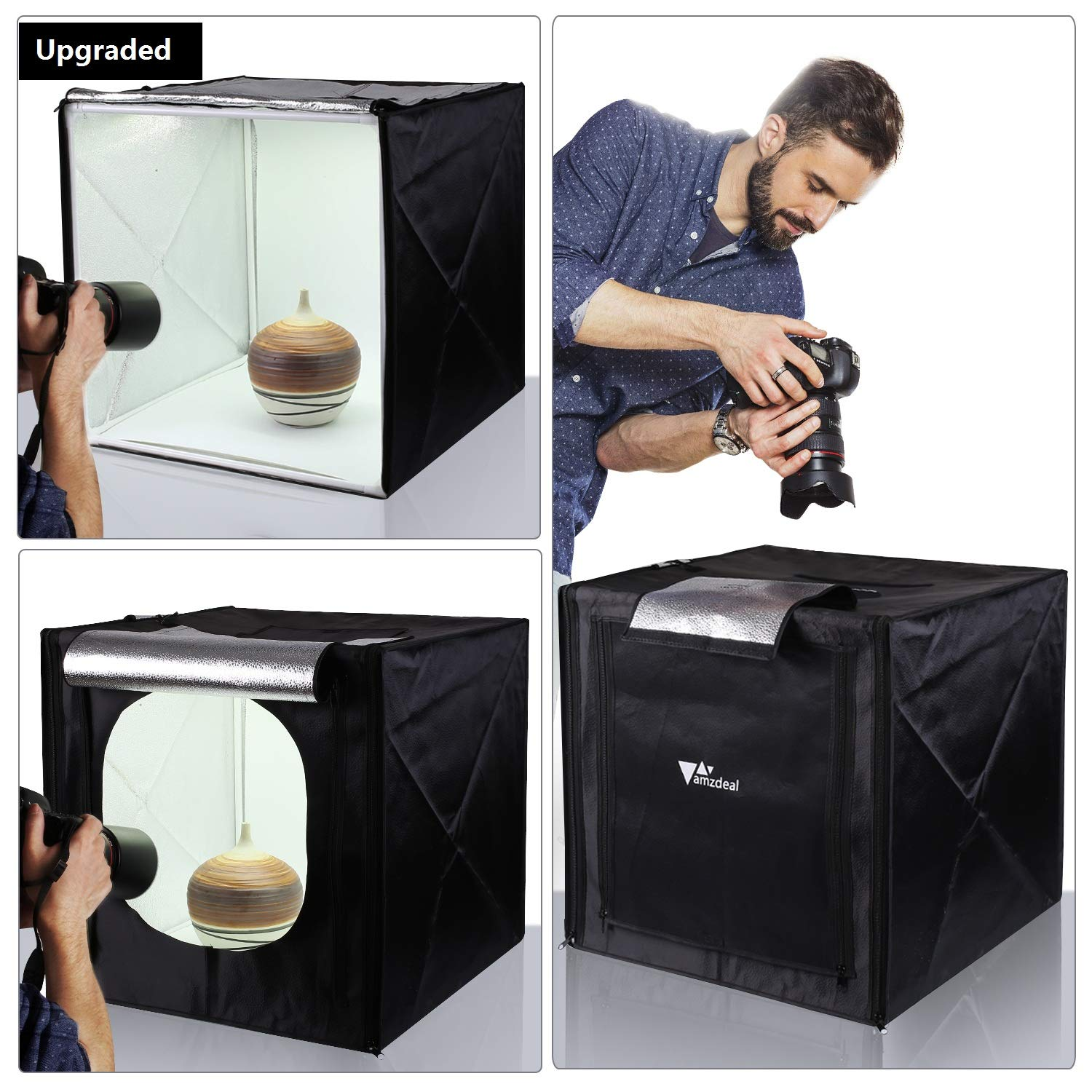 White Black Gold Photo Box GLZ Photo Studio Light Box Portable Foldable 32 x 32 Inch Photography Shooting Tent Kit with Dimmable and Movable LED Lights,Carry Bag and 3 Color Backdrops