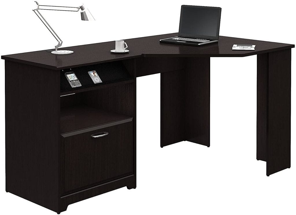 Bush Furniture Espresso Cabot Oak Corner Desk