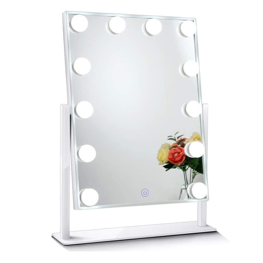 Chende Glossy White Lighted Vanity Mirror