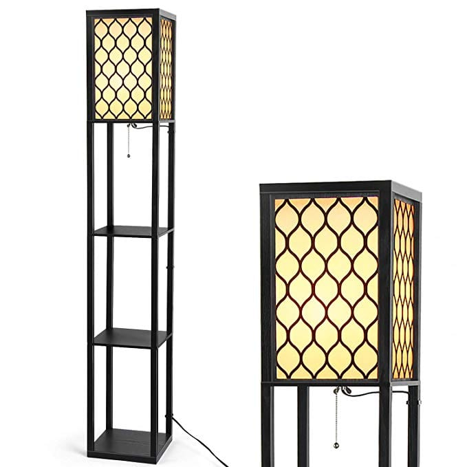 Modern Shelf Floor Lamp - Albrillo Floor Lamp with Shelves, Tall Standing Lamp for Living Room Bedroom Office, Hollow Pattern