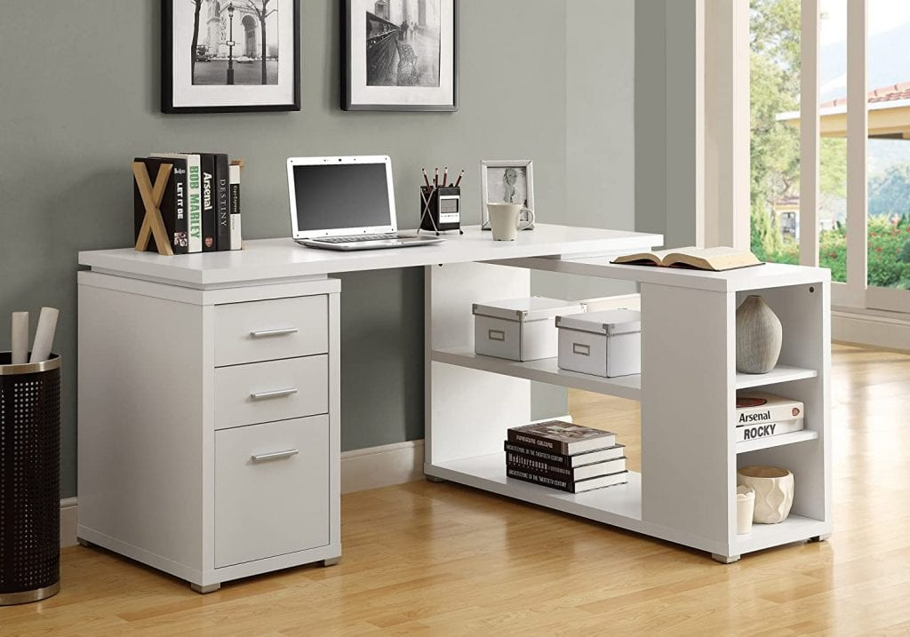 Monarch Specialties Core Hollow White Corner Table