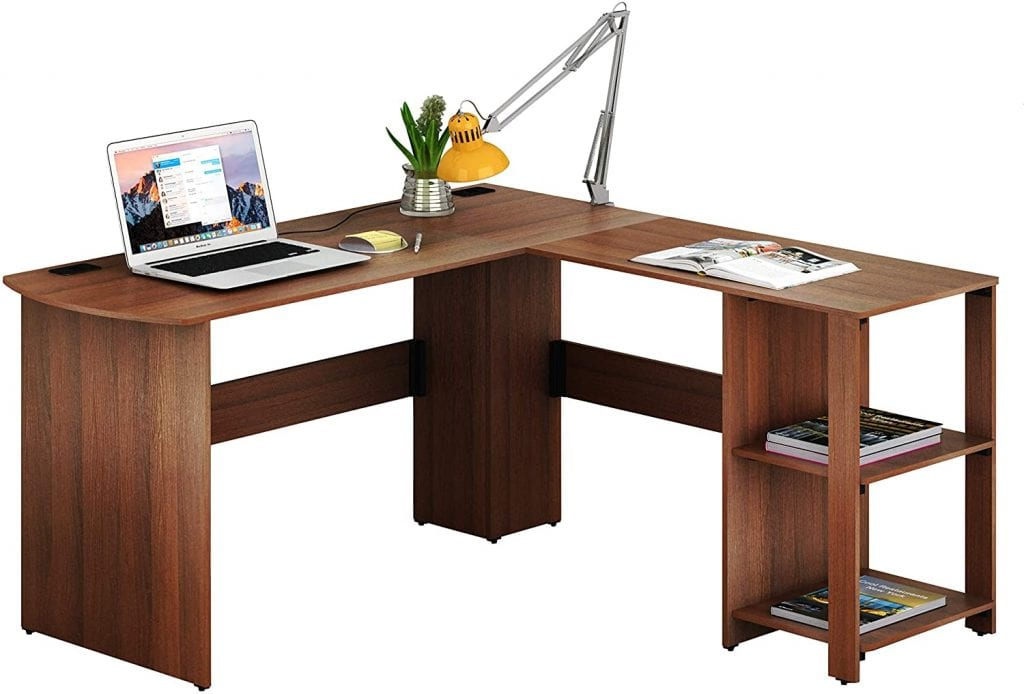 SHW Walnut L Shaped Office Home Wooden Desk