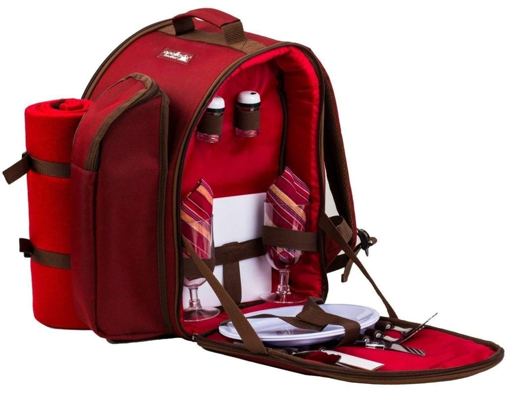 apollo walker 2 Person Red Picnic Backpack with Cooler Compartment Includes Tableware & Fleece Blanket