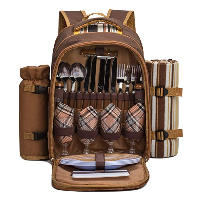 "apollo walker TAWA Picnic Backpack Bag for 4 Person with Cooler Compartment,Wine Bag, Picnic Blanket(45""x53""), Best for Family and Lovers Gifts (Coffee)"