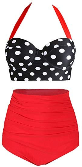 Amourri Womens Vintage Polka Underwire High Waisted Swimsuit Bathing Suits