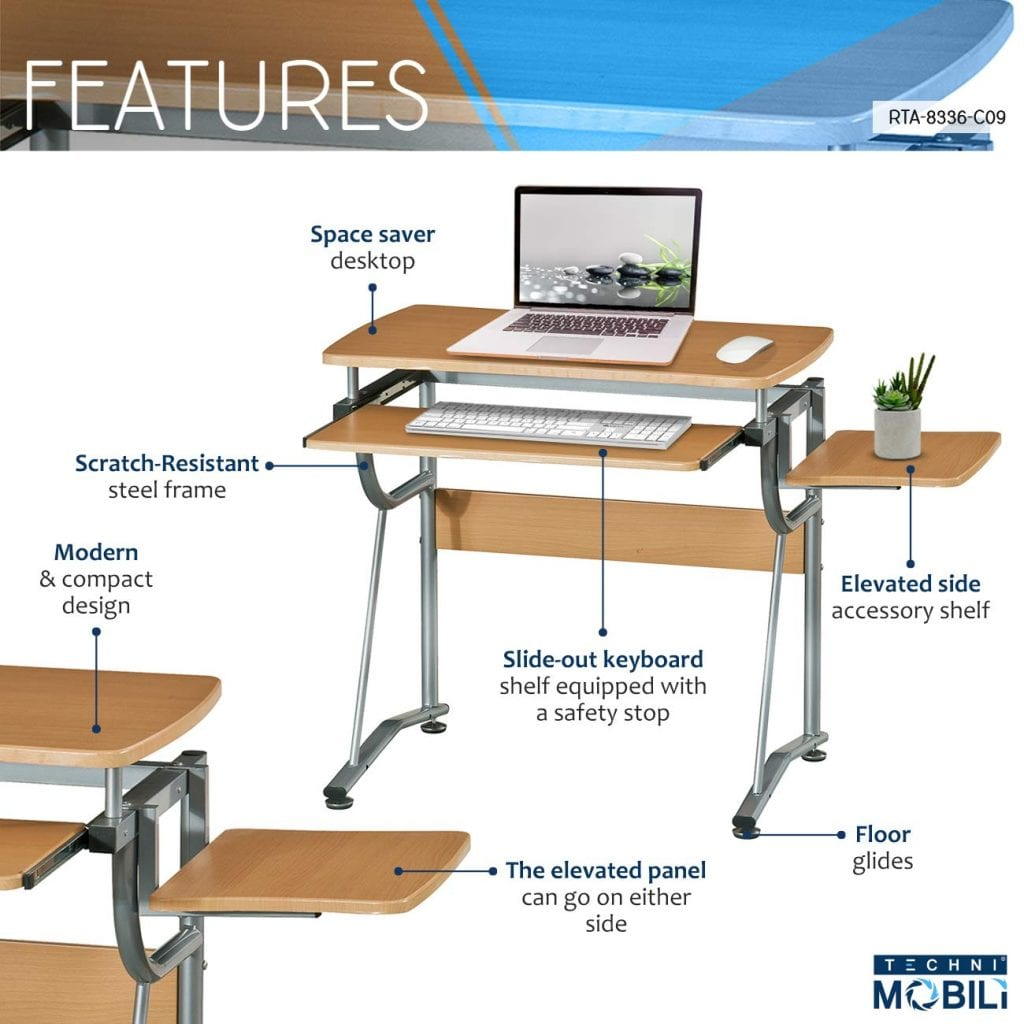 Compact Computer Desk with Slide Shelf and Keyboard Panel