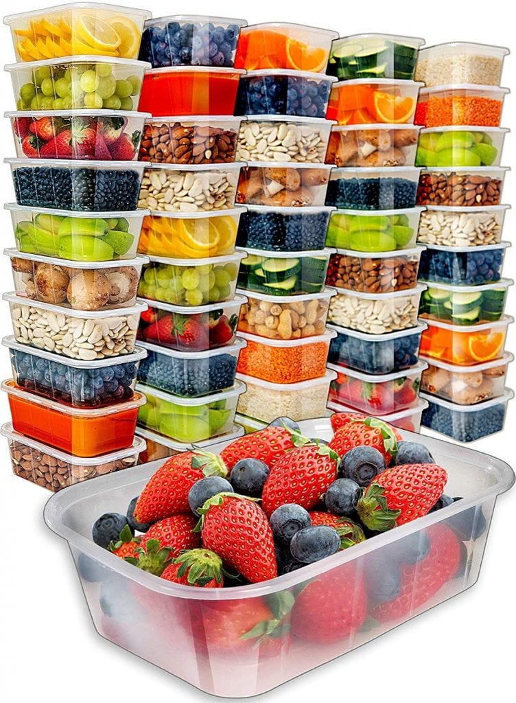 Food Storage Containers with Lids (50 Pack, 25 Ounce) by Prep Naturals