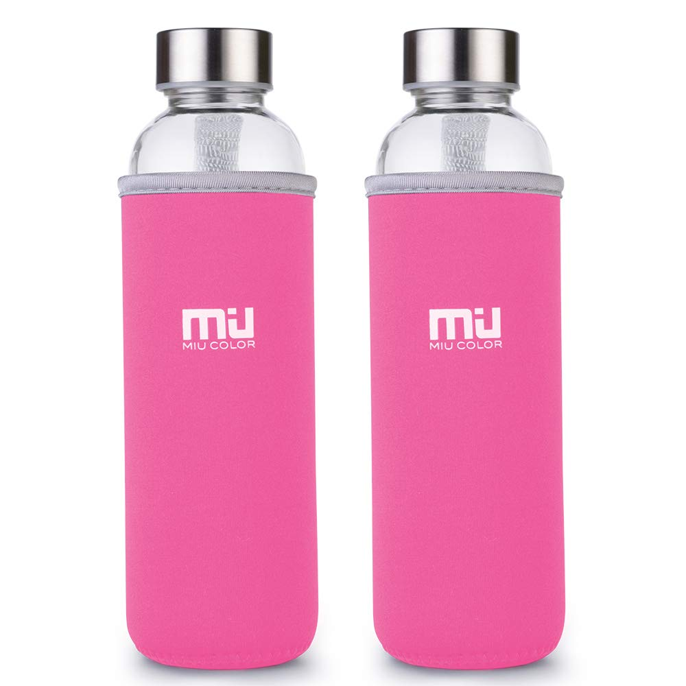 MIU COLOR Portable Nylon Sleeved 18.5 oz Eco-friendly Glass Water Bottle