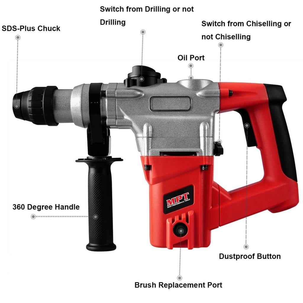 MPT 1 Inch SDS-plus 8.5 Amp Heavy Duty Rotary Hammer Drill