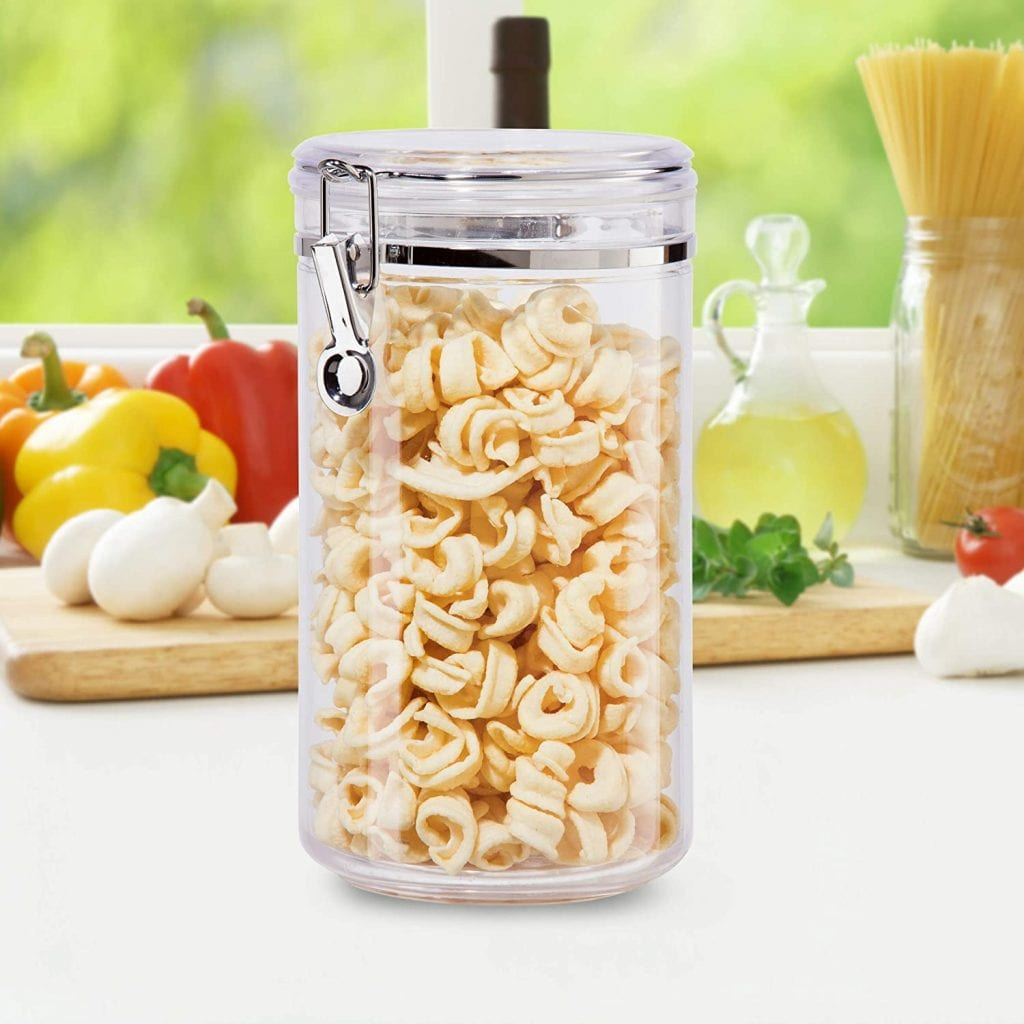 Oggi Kitchen Clear Acrylic Canister, Locking Clamp