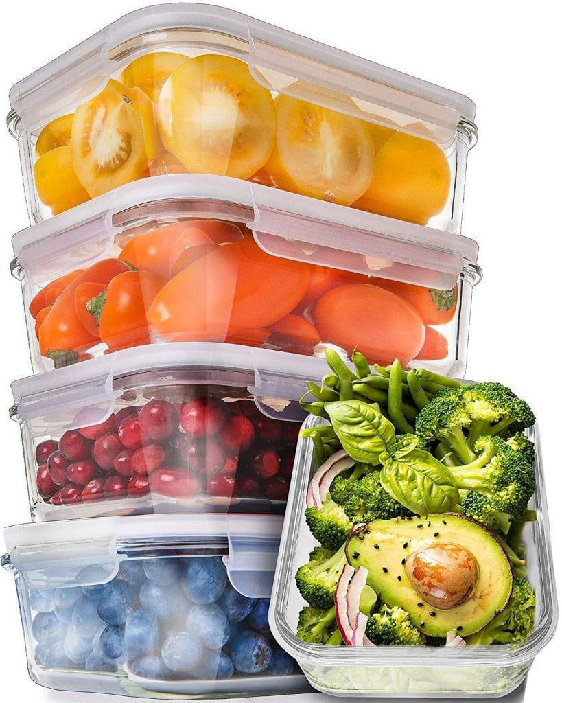 Prep Naturals Glass Meal Prep Containers (5 Pack,30 Ounce)