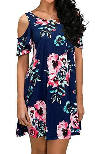Qixing Women's Summer Cold Shoulder Dress With Pockets
