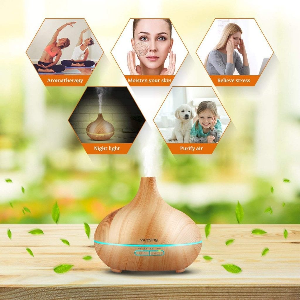 VicTsing Essential Oil Diffuser, 300ml Cool Mist Humidifier Ultrasonic Aromatherapy Diffuser