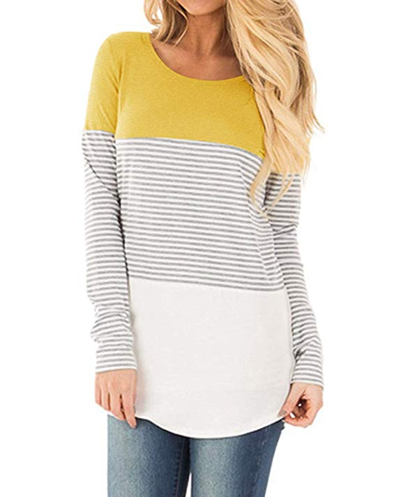 YunJey Short Sleeve and Long Sleeve Round Neck Triple Color